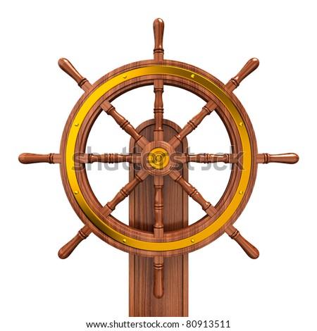 ship wheel - stock photo