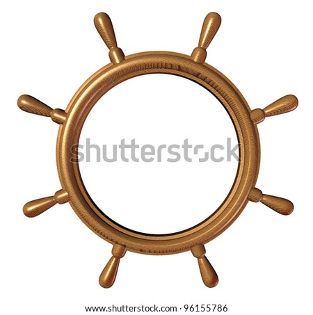 Ship wheel design element with a blank editable center as boat steering and nautical control symbol of direction and guidance on a yacht or ocean water vessel leading the vessel to safe waters. - stock photo