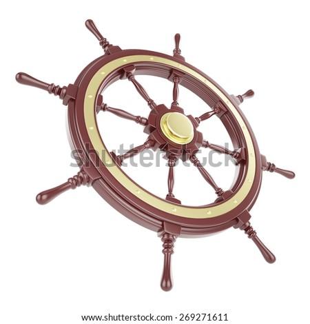 Ship wheel Isolated on white background. 3d illustration - stock photo