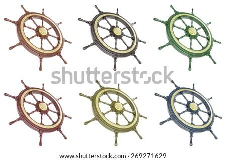 Ship wheel set isolated on a white background. 3d illustration - stock photo