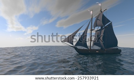 ship with black sales in the ocean - stock photo