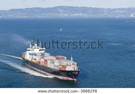 Ship with containers aerial view in San Francisco - stock photo