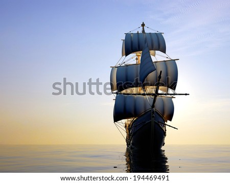 Ship with sails in the sea. - stock photo