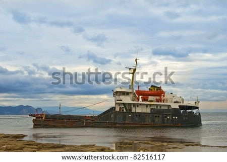 ship-wreck after a storm - stock photo