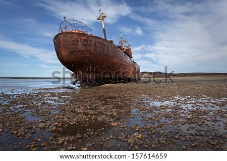 Ship-wreck Desdemona, Atlantic coast of Tierra del fuego, Patago - stock photo