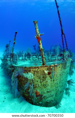 Ship Wreck of the Oro Verde Navy Vessel Grand Cayman Caribbean - stock photo