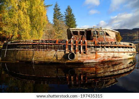 Ship wreck on Lochness in Highlands, Scotland, United Kingdom - stock photo