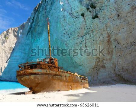 Ship wreck on Navagio beach, Zakynthos - stock photo