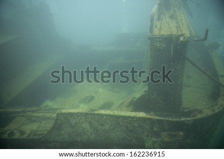 Ship Wreck underwater while diving