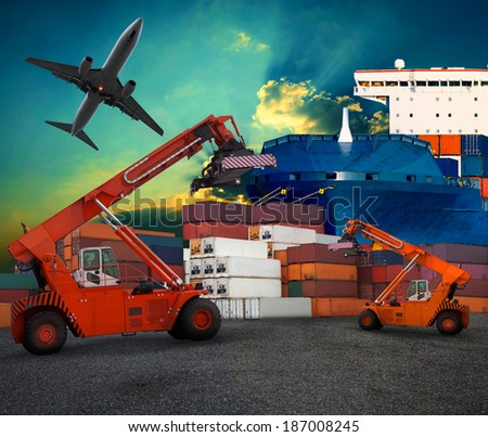 ship yard  logistic by land transport and air plane use for transportation industry business and port trading service industrial - stock photo