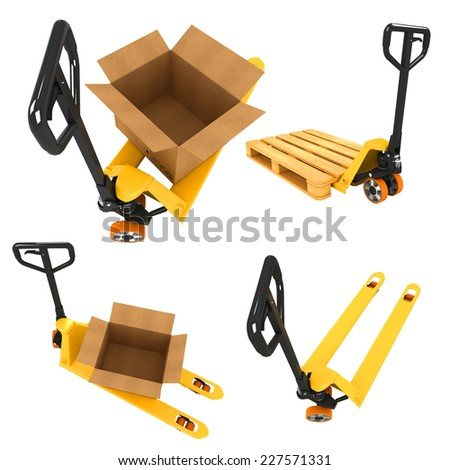 Shipment Concepts - Set of 3D Pallet Truck and Open Cardboard Boxes.