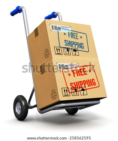 Shipment, logistics and retail parcel goods delivery commercial business concept: hand truck or trolley with stack of cardboard package boxes with Free Shipping label sticker stamp isolated on white - stock photo
