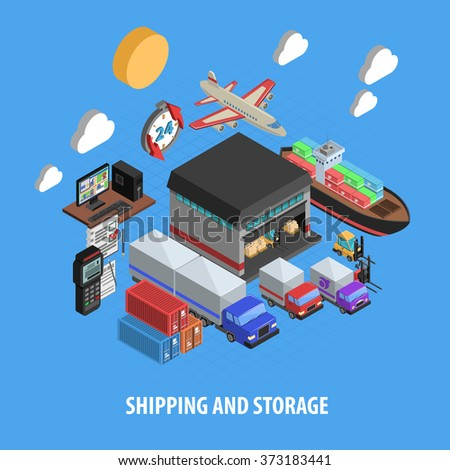 Shipping And Storage Isometric Concept - stock photo