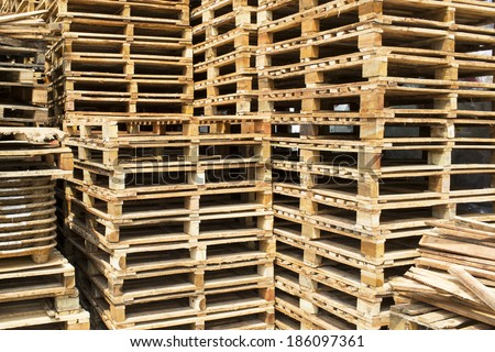 Shipping and transportation wood pallets - stock photo