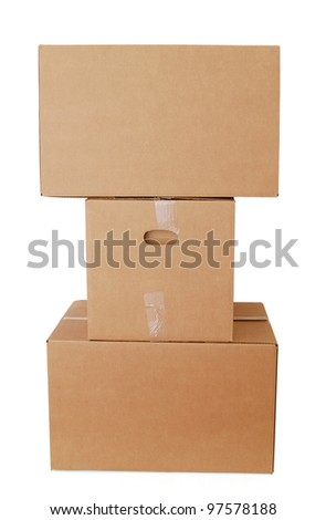 Shipping boxes on packing - stock photo
