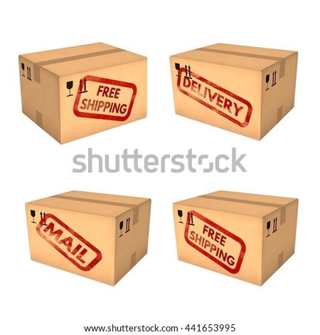 Shipping boxes set. Free shipping. Mail and delivery labels. Closed cardboard boxes. Isolated on white background. Retail, logistics, delivery and storage concept. 3D illustration. - stock photo