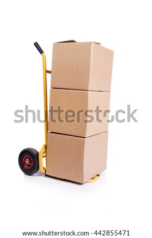 Shipping cart isolated on the white background