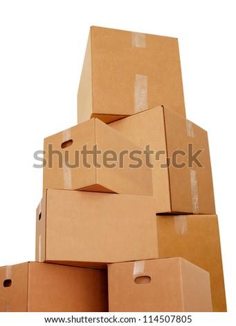 Shipping carton boxes - stock photo