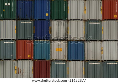 Shipping container stacked high in a port in Florida, USA - stock photo