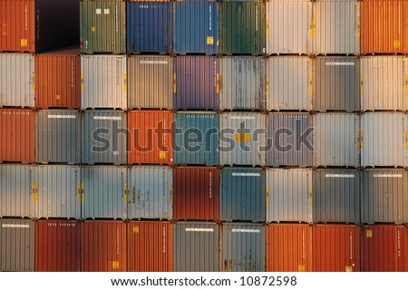 Shipping containers at port - stock photo