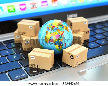 Shipping, delivery and logistic concept. Earth and cardboard boxes on laptop keyboard. Online technology. 3d - stock photo