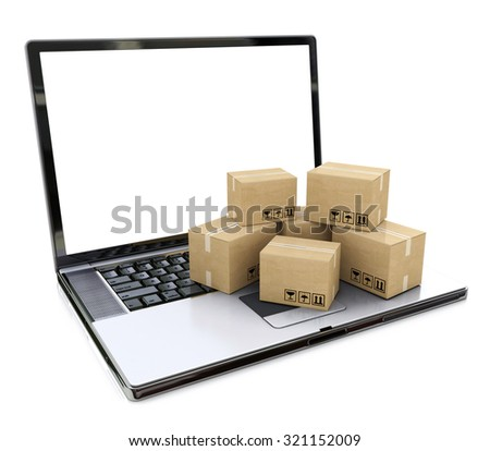 Shipping, delivery and logistics technology business industrial concept: heap of stacked corrugated cardboard package boxes on laptop with blank screen isolated on white - stock photo