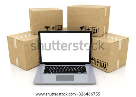 Shipping, delivery and logistics technology business industrial concept: heap of stacked corrugated cardboard package boxes and laptop with blank screen isolated on white - stock photo