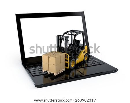 Shipping, delivery and logistics technology business industrial modern forklift and  laptop on a white background - stock photo