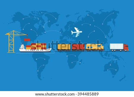 Shipping, delivery car, ship, plane transport on a background map of the world. Delivery  truck. Delivery service van, ship, train, air. Delivery transport icon. Fast delivery concept. Delivery - stock photo