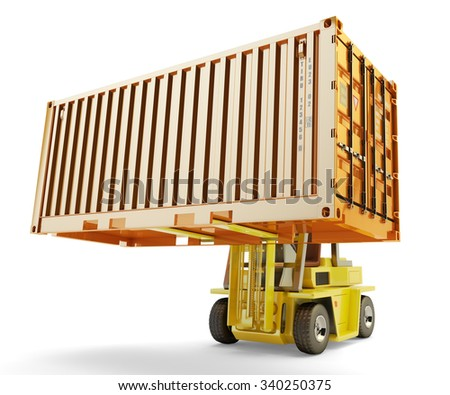 Shipping, delivery, shipment, freight transportation and logistic concept, forklift truck handling cargo container box isolated on white - stock photo
