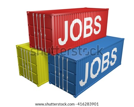 Shipping export containers labeled for job outsourcing, 3D rendering - stock photo