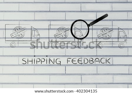 shipping feedback: trucks from different companies and magnifying glass analyzing them - stock photo