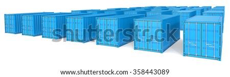 Shipping. Landscape wide view of 35 blue Cargo Containers.  - stock photo