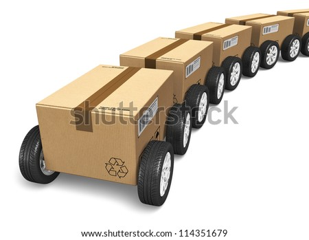 Shipping, logistics and delivery concept: railway freight cargo train from heap of cardboard boxes with car wheels isolated on white background - stock photo