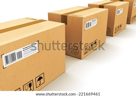 Shipping, logistics and retail goods delivery commercial business concept: row of corrugated cardboard box packages isolated on white background