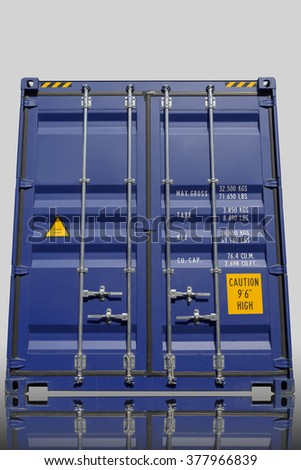 Shipping metal container on white isolate background.