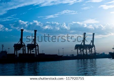 Shipping port at Chao Phraya river, Bangkok Thailand - stock photo