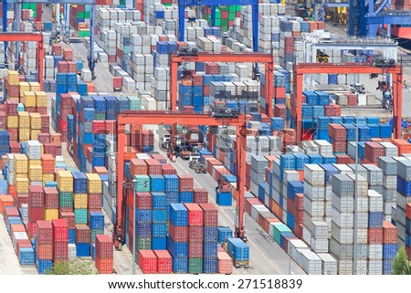 Shipping port in the daytime - stock photo
