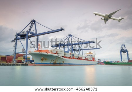 Shipping port in the morning - stock photo