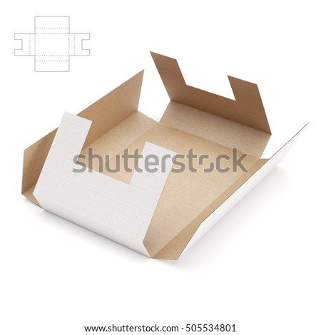 Shipping Wrap Box with Blueprint 3D Rendering
