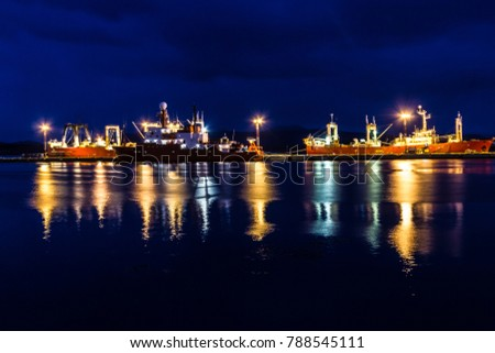 Ships at night in Ushuaia port, Argentina