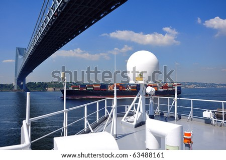 Ships bridge with mast and communication systems - stock photo