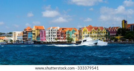 Ships coming in and out of Punda - Views around Curacao a Caribbean Island  - stock photo