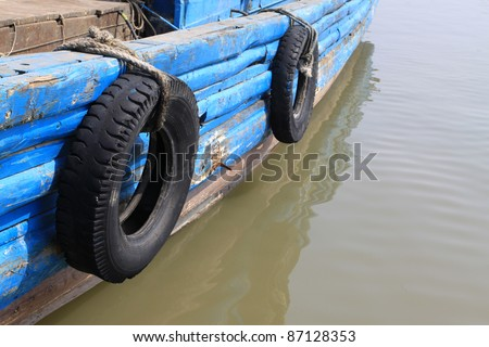 ships docked at the dock in north china - stock photo