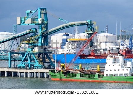 Ships in cargo port. Ventspils terminal, Latvia - stock photo