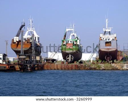 Ships in dry dock - stock photo