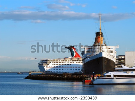 Ships in Long Beach Harbor - stock photo