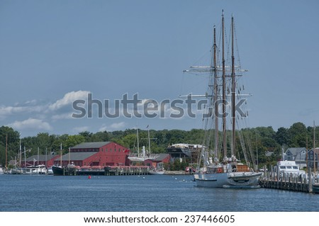 Ships in Mystic Seaport, Mystic, Connecticut - stock photo