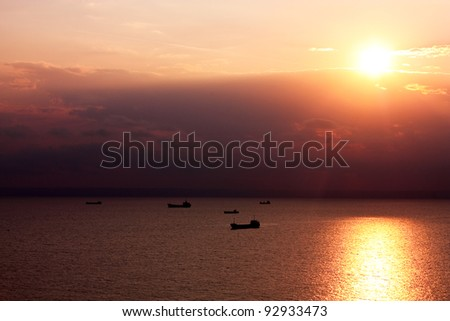 ships in the Black Sea. Balchik, near Varna, Bulgaria - stock photo