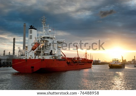 Ships in the harbor - stock photo